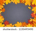 Fallen Maple Leaves On Black...