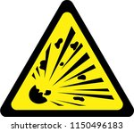 yellow warning sign with...   Shutterstock . vector #1150496183