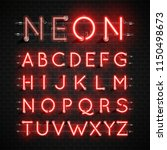 high detailed neon font set ... | Shutterstock .eps vector #1150498673
