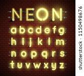 high detailed neon font set ...   Shutterstock .eps vector #1150498676