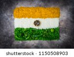 indian flag with vegetables and ... | Shutterstock . vector #1150508903