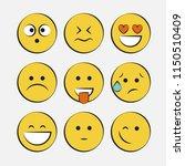 smile icons. emoji. emoticons | Shutterstock .eps vector #1150510409
