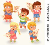 schoolchildren and marks icons...   Shutterstock .eps vector #1150522373