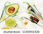 avocado mask for beautiful skin ... | Shutterstock . vector #1150542320