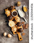 different homemade muffins with ...   Shutterstock . vector #1150544456