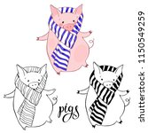 cute pigs in a scarf . vector... | Shutterstock .eps vector #1150549259