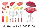 bbq set  barbecue equipment and ... | Shutterstock .eps vector #1150550156