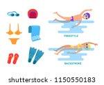 backstroke and freestyle set...   Shutterstock .eps vector #1150550183
