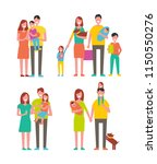 family couples and kids set.... | Shutterstock .eps vector #1150550276