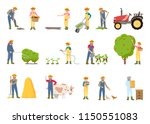 people working on farm  in... | Shutterstock .eps vector #1150551083