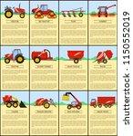 big tractor and slurry tanker ... | Shutterstock .eps vector #1150552019