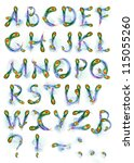 letters of the alphabet painted ... | Shutterstock . vector #115055260