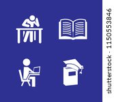 study icon. 4 study set with... | Shutterstock .eps vector #1150553846