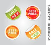 stickers with sale messages | Shutterstock .eps vector #115055548