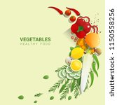 flat lay fresh vegetables on... | Shutterstock .eps vector #1150558256