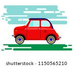 mall antique red car with blue... | Shutterstock .eps vector #1150565210
