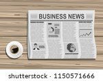 newspapers with a cup of coffee ... | Shutterstock .eps vector #1150571666
