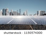 solar panels with modern city... | Shutterstock . vector #1150574300