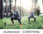fit young caucasian women... | Shutterstock . vector #1150574546