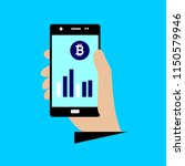 smartphone screen with bitcoin... | Shutterstock .eps vector #1150579946