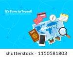 traveler's accessories.... | Shutterstock .eps vector #1150581803