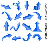 blue 3d arrows. straight and... | Shutterstock .eps vector #1150604390