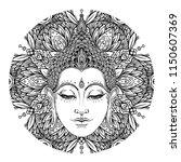 buddha face over ornate mandala ... | Shutterstock .eps vector #1150607369