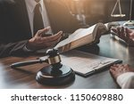 judge gavel with justice... | Shutterstock . vector #1150609880