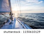 sailing at sunset. a view from... | Shutterstock . vector #1150610129