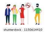 group of people. man smokes... | Shutterstock .eps vector #1150614410