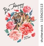 happy slogan with tiger and... | Shutterstock .eps vector #1150623113