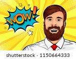 wow pop art male hipster face.... | Shutterstock .eps vector #1150664333