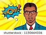 wow pop art male face. young... | Shutterstock .eps vector #1150664336