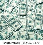 heap of one hundred us dollars... | Shutterstock . vector #1150673570