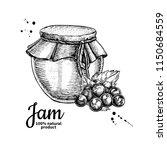 black currant  jam glass jar... | Shutterstock .eps vector #1150684559