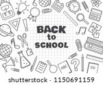 back to school. frame with... | Shutterstock .eps vector #1150691159