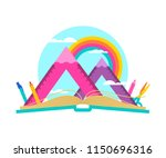 open book with mountain... | Shutterstock .eps vector #1150696316