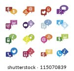 colorful communication icons ... | Shutterstock .eps vector #115070839