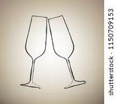 sparkling champagne glasses.... | Shutterstock .eps vector #1150709153