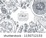 italian food top view... | Shutterstock .eps vector #1150712153