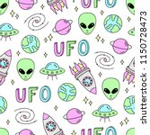 colorful cute space vector... | Shutterstock .eps vector #1150728473