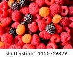 berry mix  red raspberry ... | Shutterstock . vector #1150729829