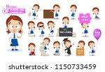school girl in uniform... | Shutterstock .eps vector #1150733459