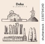 set of hand drawn doha... | Shutterstock .eps vector #1150734140