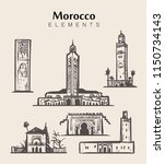 set of hand drawn morocco... | Shutterstock .eps vector #1150734143