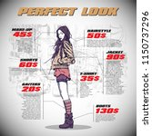 fashion infographic with model... | Shutterstock .eps vector #1150737296