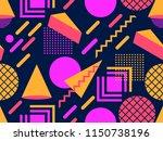 memphis seamless pattern.... | Shutterstock .eps vector #1150738196