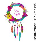 dream catcher with feathers and ... | Shutterstock .eps vector #1150746146
