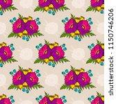 poppy seamless pattern. floral... | Shutterstock .eps vector #1150746206