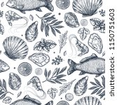 seafood restaurant seamless... | Shutterstock .eps vector #1150751603